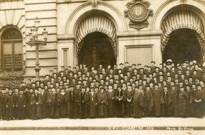 Class of 1912 in front of the Troy Music Hall.