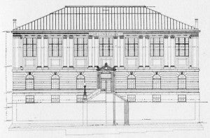 Architect's drawing, front elevation as built.