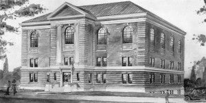 Rendering of the proposed gymnasium as it appeared in the 1912 Transit.