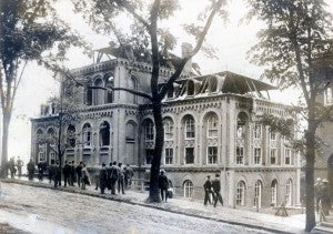 View of the Main Building from 8th Street, destroyed by fire on June 9, 1904.