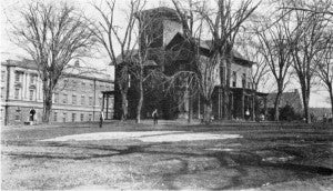 Warren house, now student dormitory with Russell Sage Laboratory to the left, circa 1909