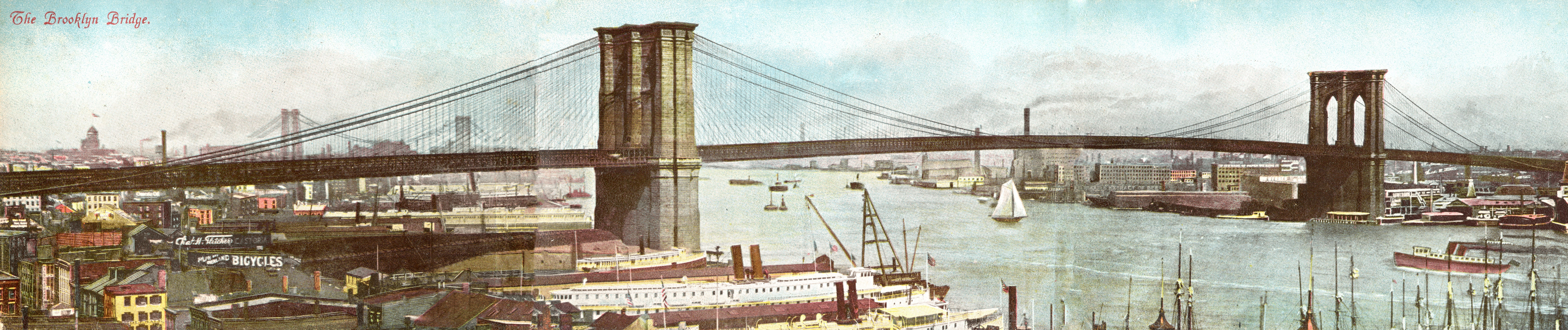Vintage postcard of Brooklyn Bridge