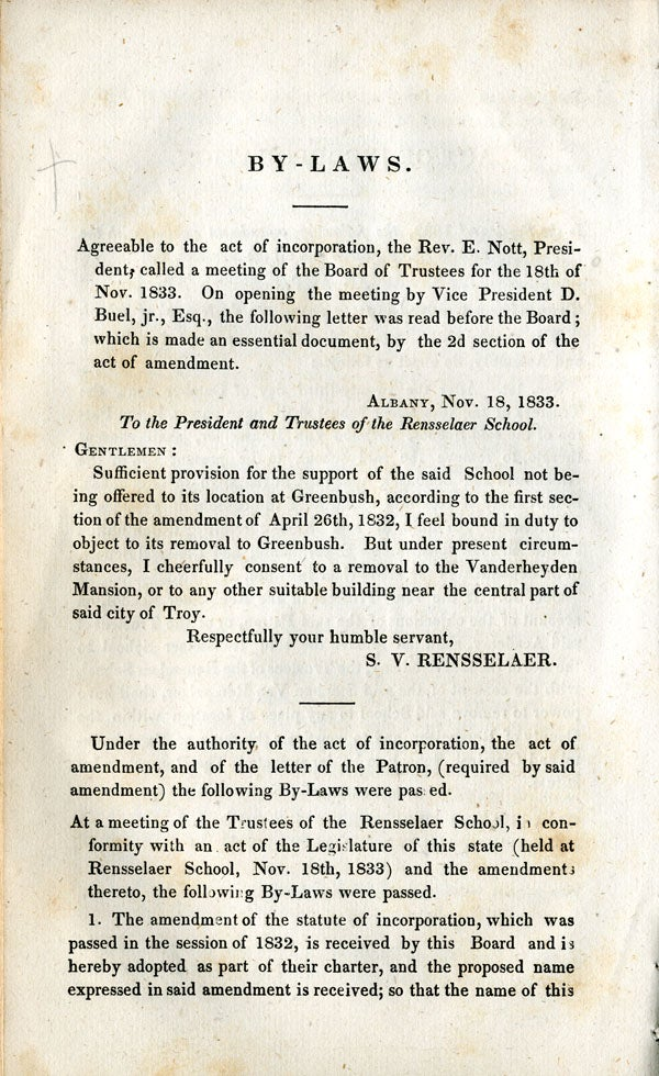 By Laws of the Rensselaer School, 1833 - page 1