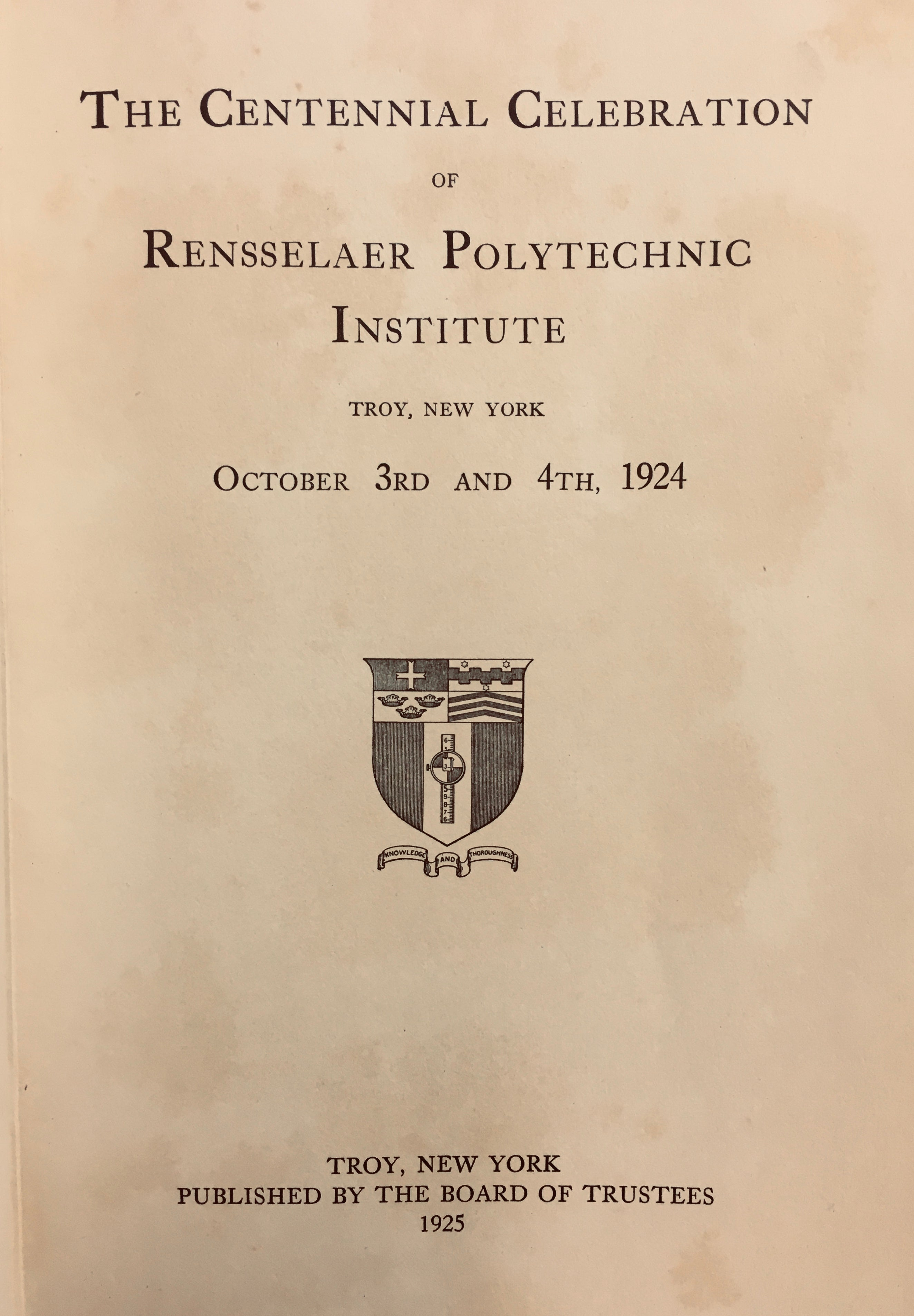 Cover of the book, The Centennial Celebration of Rensselaer Polytechnic Institute, 1924