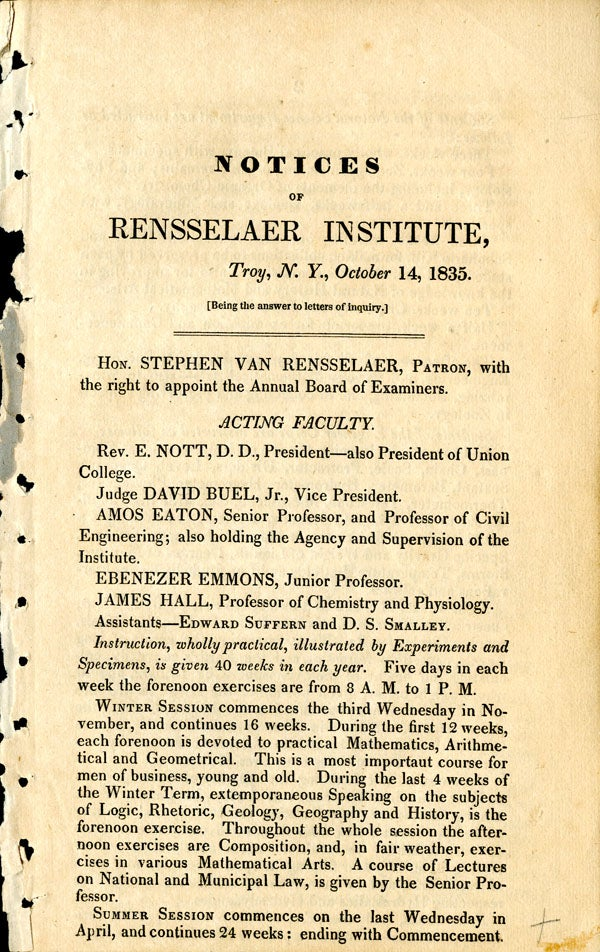 Notice of the Civil Engineering Degree, 1835 - page 1