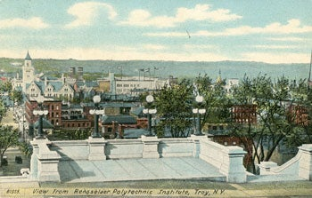 Historic postcard of view of Troy from Rensselaer campus