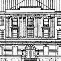 Drawing of Russel Sage labs