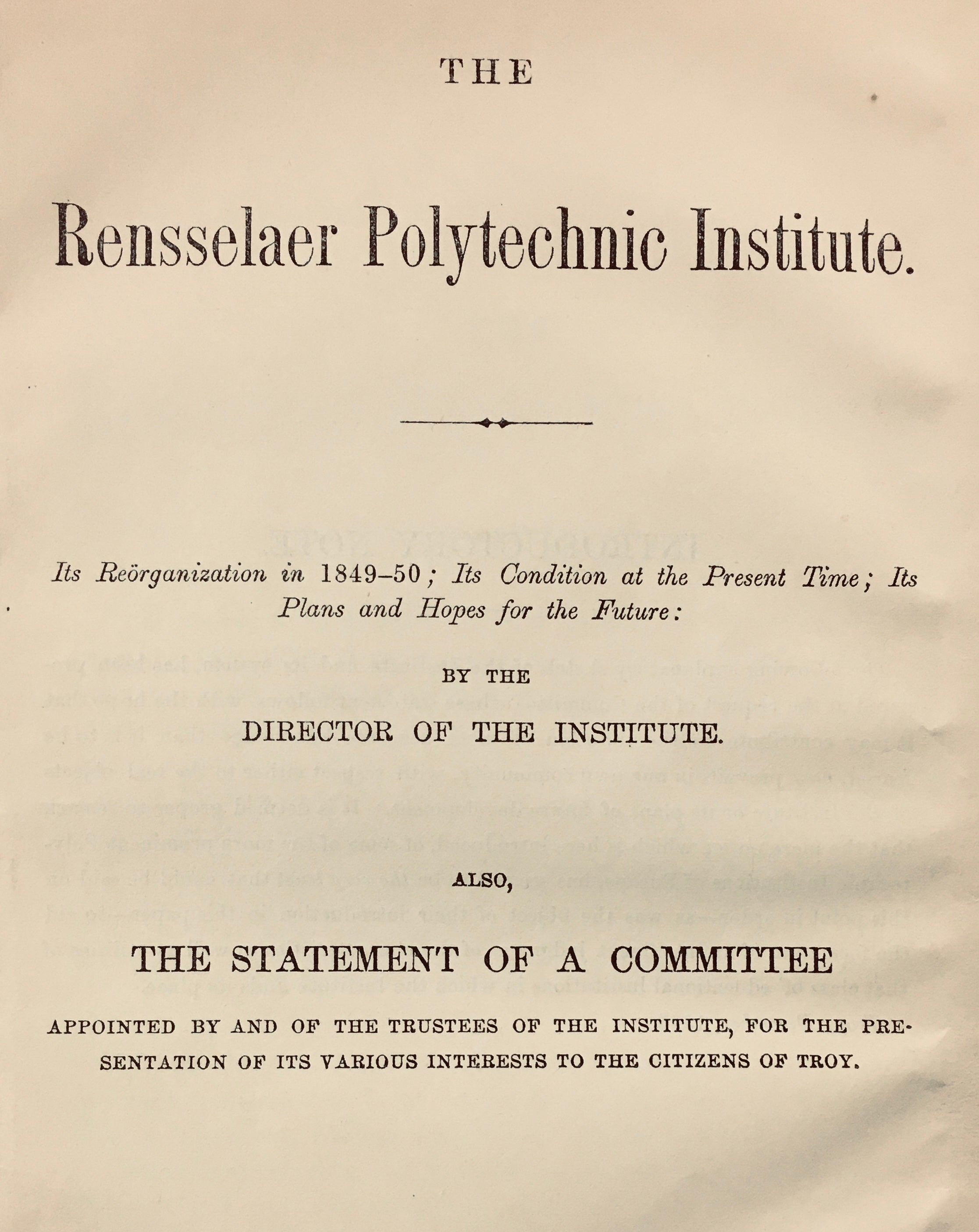Cover page from The Rensselaer Polytechnic Institute Reorganization in 1849-50