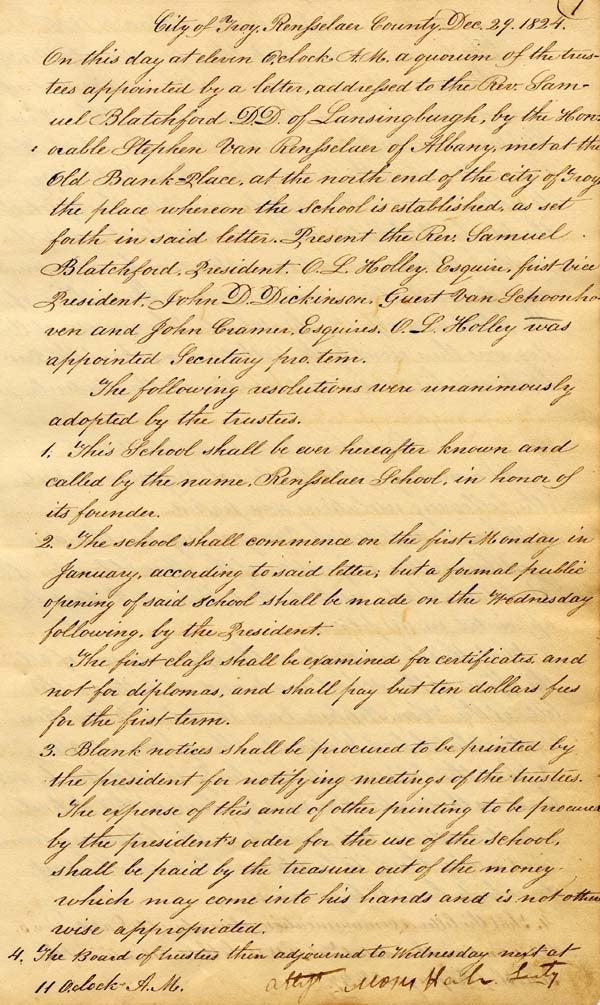 Board of Trustees Minutes, Dec. 29, 1824, pg 1