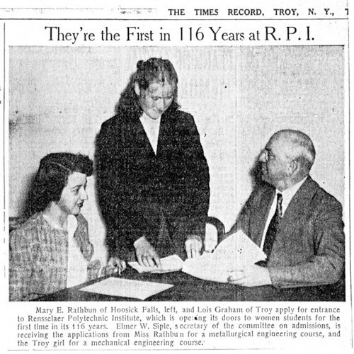Newspaper clipping from The Times Record of two women applying for entrance to RPI