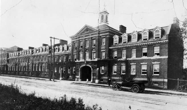 View of the original Quadrangle dorms, as viewed from 15th Street (northeast elevation, circa mid- to late1910s)