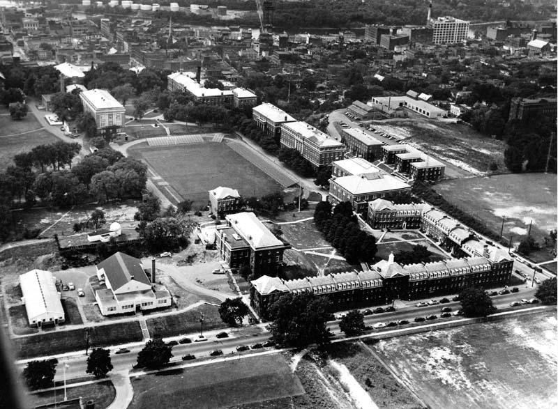 Aerial photograph of Rensselaer campus, with Service Building visible just above the E-dorms, near upper right of photo (circa 1949)
