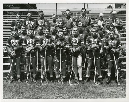 "Team photograph with players wearing their ""RPI USA"" uniforms, 1948."