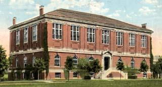Exterior view of the '87 Gymnasium (south-southwest elevation, circa 1930s?)