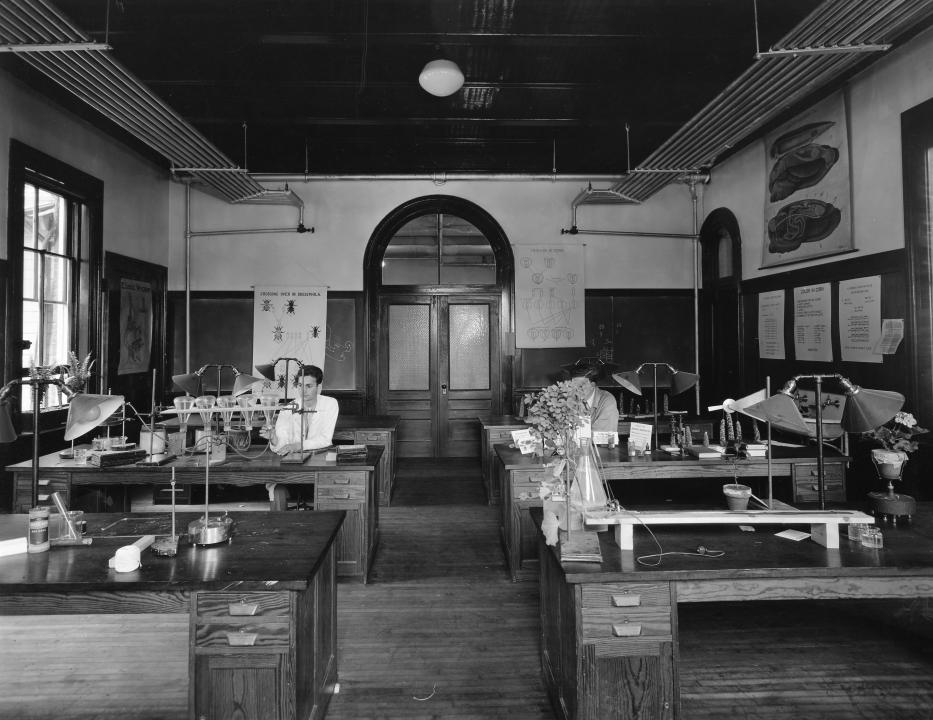First floor laboratory, east wing, looking west