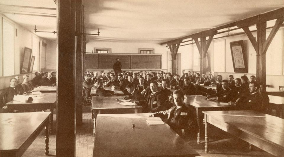 Class of students in the Main building.