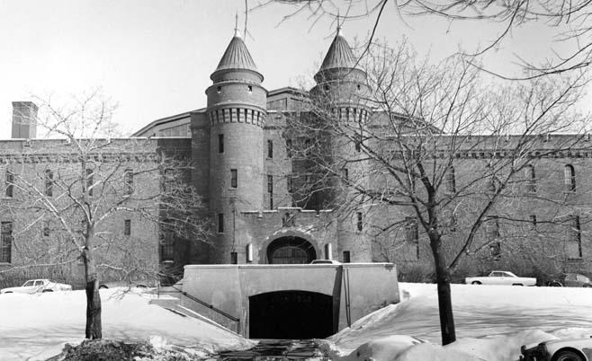 Exterior view of the entrance to the Armory/ASRC (west elevation, date unknown)