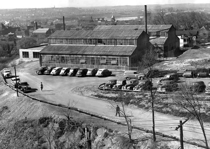 Aerial view of the Blaw-Knox facility, looking northwest as viewed from above Sage Avenue (circa late 1940s)