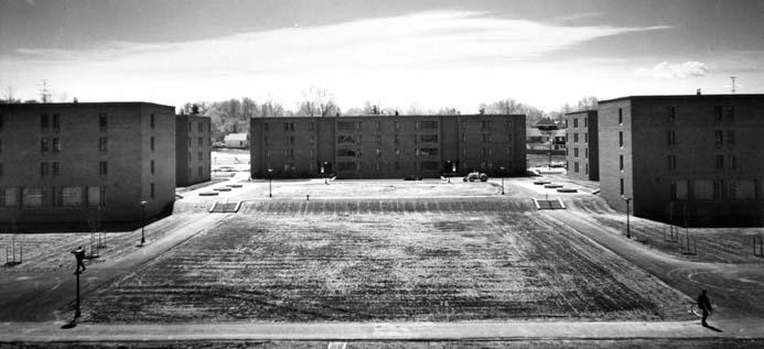 Aerial photo of newly-built freshman dormitory complex (north elevation as viewed from upper Sage Avenue, date unknown)