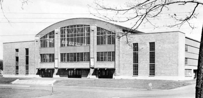 Exterior view of the entrance to the Houston Field House (southwest elevation, circa late 1940s or early 1950s)