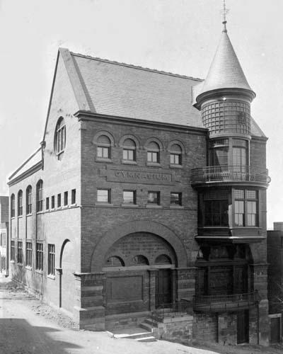 Exterior of the Old Rensselaer Gymnasium (southwest elevation showing turret, date unknown)