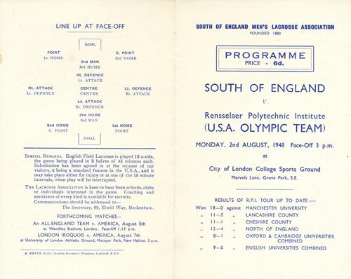 Programme – RPI USA and South of England. August 2, 1948 (pgs.1&4).