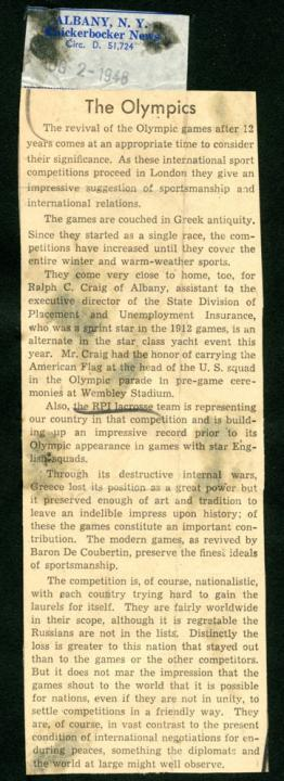 News clipping – XIV Olympics.