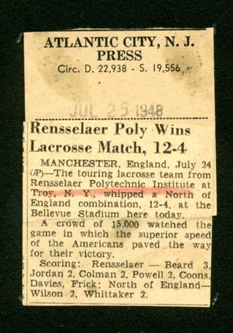 News article – RPI's victory over North of England.