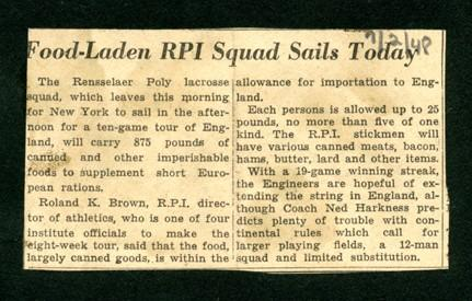 News clipping – RPI lacrosse team's departure for England, July 2, 1948.