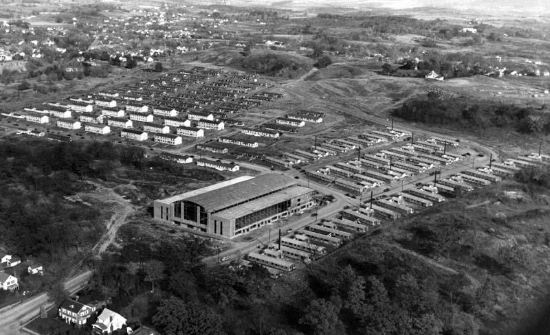 Aerial photo of the Rendael post-war dormitories (looking east-northeast, with Houston Field House in center)