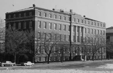 Exterior view of the Ricketts Building, as seen from what would have been the '86 Field (southwestern elevation, date unknown)