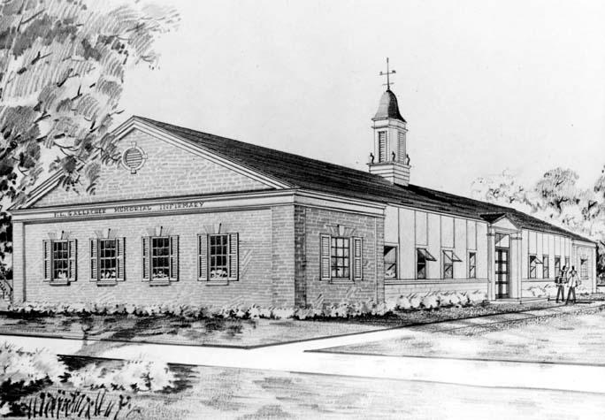 Artist's rendering of the F. E. Gallagher Infirmary, which previously served as the Snack Bar on 15th Street (southeast elevation)