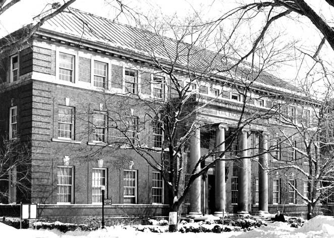 Exterior view of the entrance to the Troy Building (southwest elevation, date unknown)