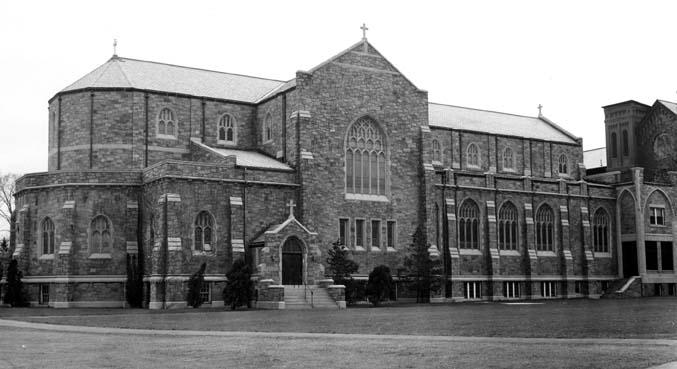 Exterior view of the campus Chapel, now known as the Voorhees Computing Center (north-northeast elevation, date unknown)