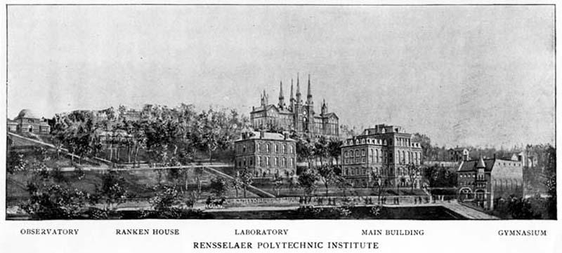 1896 illustrated view. Proudfit with its original dome, Ranken house, Walker Laboratory, Main Building, Gymnasium.