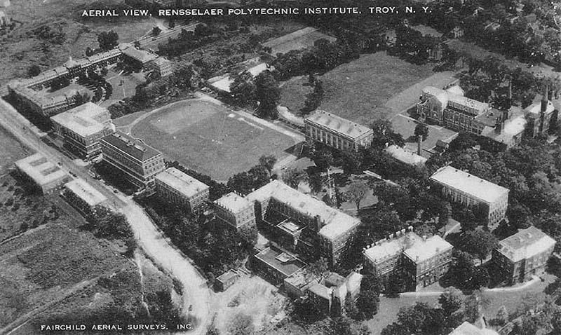 Aerial photo circa 1940 shows the completed Ricketts campus.