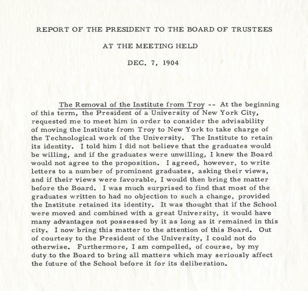Report of the President to the Board of Trustees at the meeting held Dec. 7, 1904 regarding a request from a President of a New York City University to move the institute from Troy to New York.