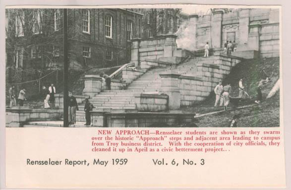 Photograph showing Rensselaer students cleaning up Approach steps (circa April 1959)