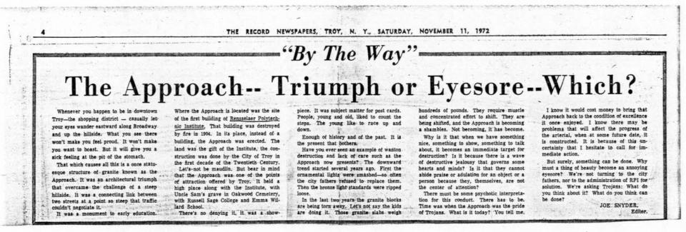 Newspaper clippings regarding the state and/or location of The Approach (first clipping from the Troy Record dated November 11, 1972; second clipping from Times Union dated June 13, 1985)