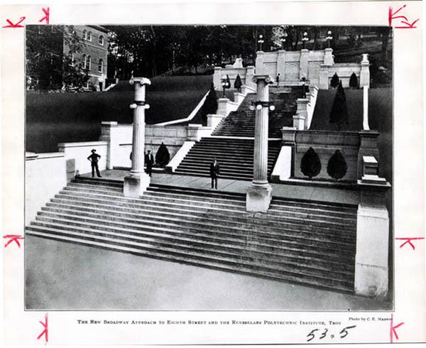 Photograph/postcard of new Approach staircase (low-level aerial view looking up hill toward Eighth Street, circa 1907)