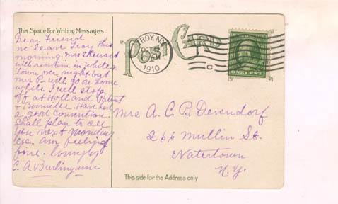 The back of the same color-tinted postcard of the Approach (stamped/dated October 12, 1910)