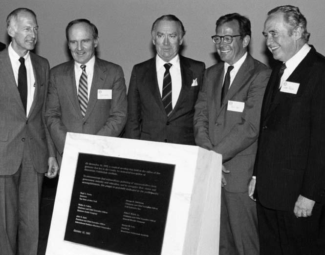 Photo of five dignitariees present at the CII's dedication, including then-RPI President George Low and then-New York Governor Hugh Carey (May 14, 1987)