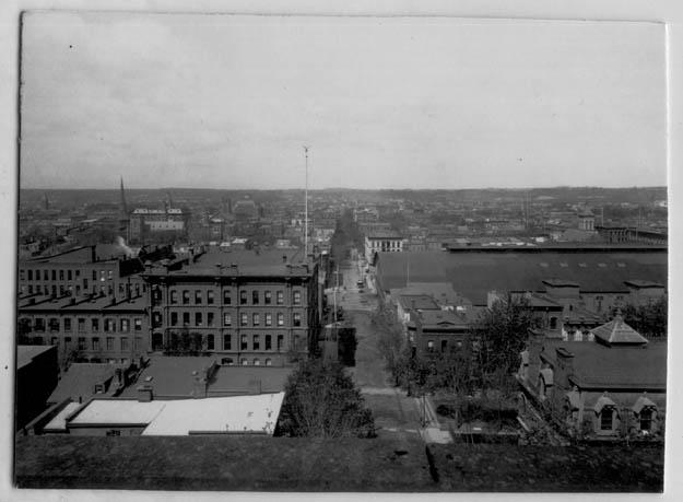 Photograph looking westward, with the city of Troy in the foreground (view believed to be looking down Broadway, at top of what is now The Approach)