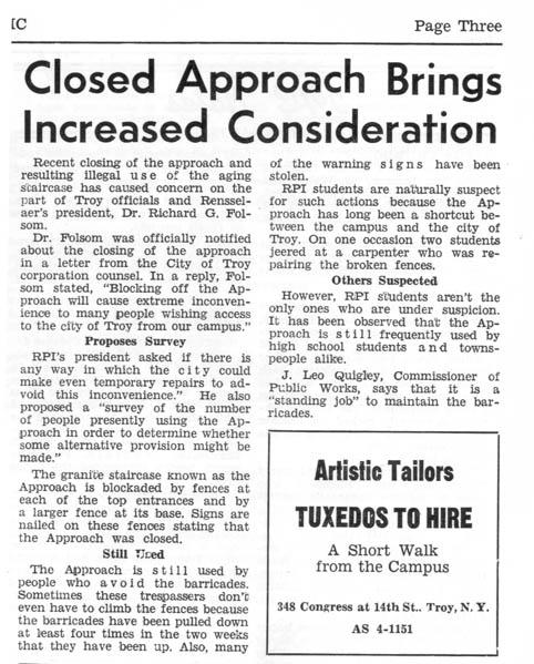 Clipping from The Poly student newspaper regarding Approach's closure, also photos showing staircase's disrepair (date unknown, likely late 1970s)