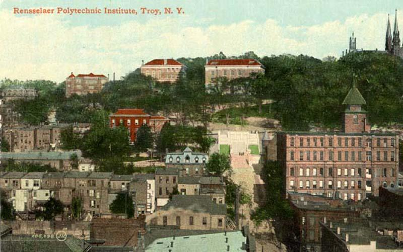 View from downtown Troy circa 1907. Winslow and the Approach in the middle, Proudfit, Walker and Carnegie in the background.