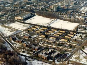 More recent aerial view of the development (facing similar direction; Houston Field House Field House visible)