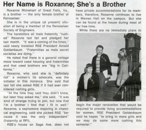 Roxanne, Rensselaer Society of Engineers